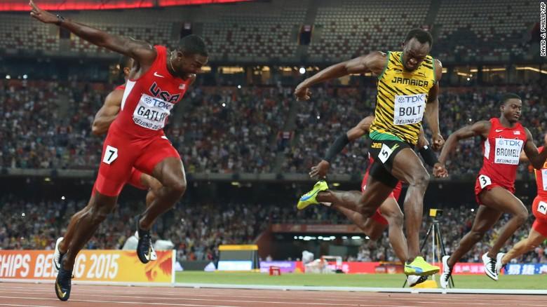 Usain Bolt e Gatlin Mondiali atletica Bejing 2015 al finish
